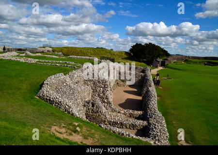 Castle Ruins at Old Sarum, Salisbury, Wiltshire, England, UK. - Stock Photo