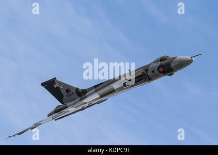 XH558 Vulcan Bomber displaying at RIAT, Royal international Air Tattoo at RAF Fairford, England, UK - Stock Photo