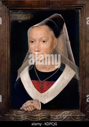 Portrait of a Young Woman or Sibylla Sambetha by Hans Memling (c.1430-1494), oil on panel, 1480 - Stock Photo