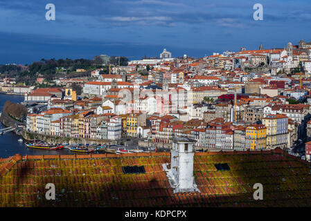 Porto city on Iberian Peninsula, second largest city in Portugal. View from Vila Nova de Gaia city on the other - Stock Photo