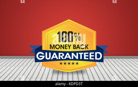 100% money back guaranteed seal or shield designed in 3D room illustration. Can you be used on websites and print - Stock Photo
