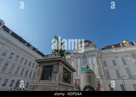 Austrian National Library with monument to Emperor Joseph II in Austria September 2017. - Stock Photo
