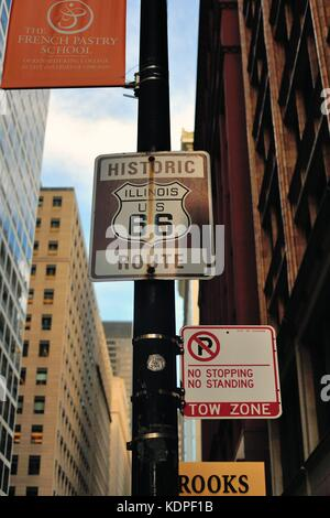 Sign commemorating the famous U.S. Route 66 that ran from Chicago to Los Angeles. Chicago, Illinois, USA. - Stock Photo