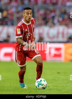 Munich, Germany. 14th Oct, 2017. Bayern's Thiago in action during the German Bundesliga soccer match between Bayern - Stock Photo