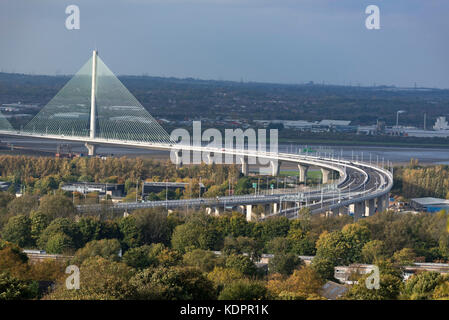Runcorn. United Kingdom.  15 October. 2017. The New Mersey Gateway bridge across the river Mersey on it's first - Stock Photo