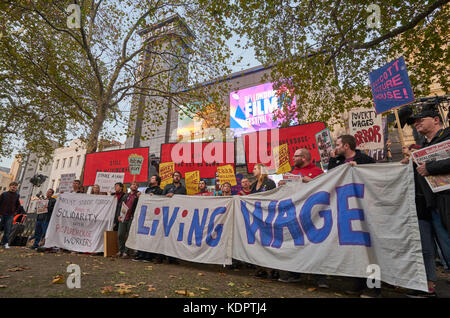 London, UK. 15th Oct, 2017. London living wage protest by Cinema and festival workers London Film Festival London, - Stock Photo