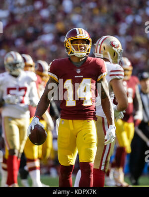 Landover, MD, USA. 15th Oct, 2017. Washington Redskins WR #14 Ryan Grant during a NFL football game between the - Stock Photo