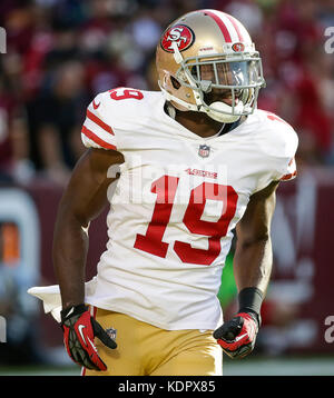 Landover, MD, USA. 15th Oct, 2017. San Francisco 49ers WR #19 Aldrick Robinson during a NFL football game between - Stock Photo