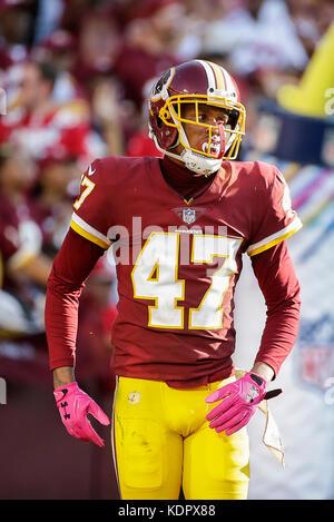 Landover, MD, USA. 15th Oct, 2017. Washington Redskins CB #47 Quinton Dunbar during a NFL football game between - Stock Photo