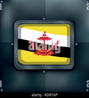 Flag of Brunei on metalic frame illustration - Stock Photo