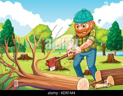 Scene with lumberjack chopping trees illustration - Stock Photo