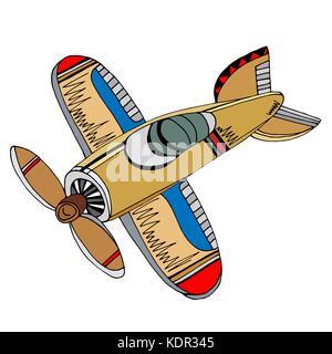Retro cartoon airplane. Vector illustration. Sketch hand drawn - Stock Photo