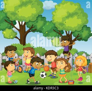 Children playing games and sports in park illustration - Stock Photo