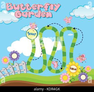 game template in garden scene illustration stock vector art