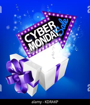 Cyber Monday Sale Gift Box Sign - Stock Photo