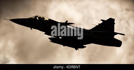 Saab JAS 39C Gripen sillhuette - Stock Photo