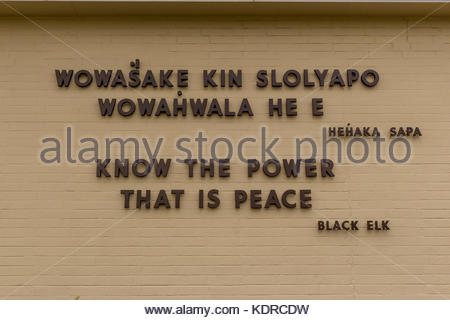 Black Elk Quotation on the wall of the National Monument at Little Big Horn - Stock Photo