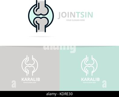 Unique joint and knee logo design template. Unique anatomy and medicine logotype design template. - Stock Photo