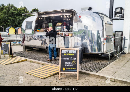 'Ahoy There' Airstream food trailer at the Falkirk Wheel, Stirlingshire, Scotland - Stock Photo