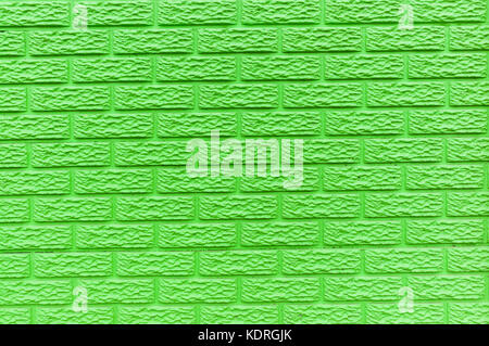 wall brick mold slats closeup pastel colors lime green and red paint