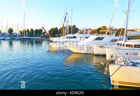 landscape of Alimos marina in Attica Greece - greek yachts and sailboats - Stock Photo