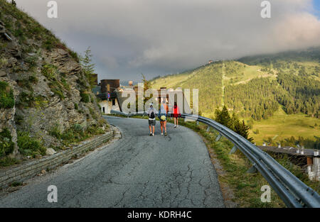 Walking on the road to Sestriere resort, 2000m ,Alps mountain, Italy - Stock Photo
