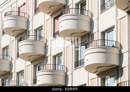 round balcony on modern apartment building facade - - Stock Photo