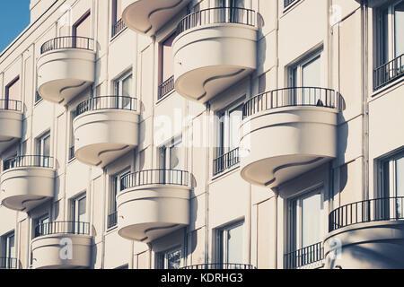 modern apartment building facade.  round balcony on modern apartment building facade Stock Photo