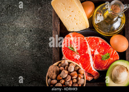 Healthy organic food. Products with healthy fats. Omega 3, omega 6. Ingredients and products: trout (salmon), olive - Stock Photo