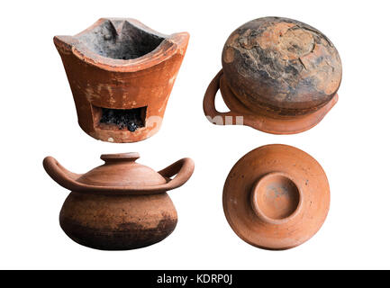 Old clay pot and stove of cracks on white background. - Stock Photo
