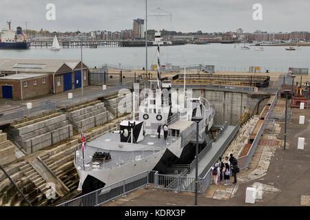 HMS M.33 in dry dock in Portsmouth Historic Dockyard - Stock Photo