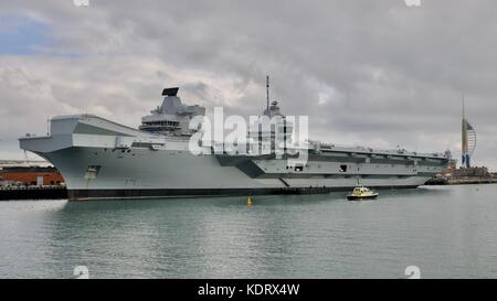 HMS Queen Elizabeth  - Aircraft Carrier the most advanced warship in the Royal Navy Fleet at Portsmouth Navel Base - Stock Photo