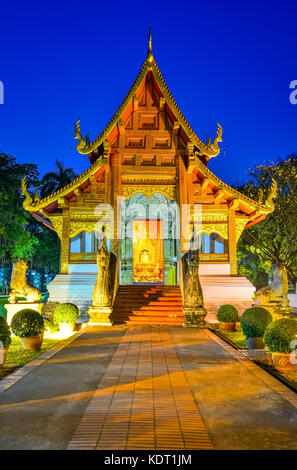 Wat Phra Singh Woramahaviharn located in the western part of the old city center of Chiang Mai,Thailand, Asia - Stock Photo