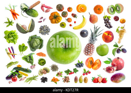 Concept of healthy food, Various Fruits and vegetables to eat five a day on withte background with a green apple - Stock Photo