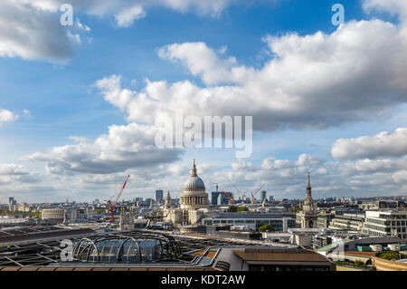 London skyline rooftop panorama view with the iconic landmark, the dome of St Paul's Cathedral by Sir Christopher - Stock Photo