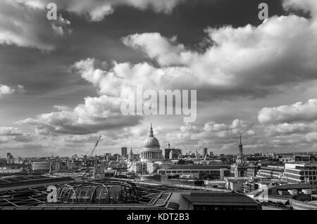 View of London skyline rooftop panorama with the iconic landmark, the dome of St Paul's Cathedral by Sir Christopher - Stock Photo