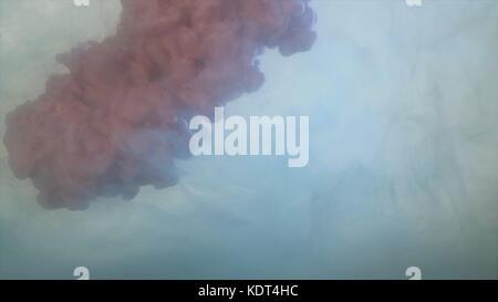Dark pink smoke wisp drops against white background. Pink-purple color of smoke splatter on white background. Purple - Stock Photo