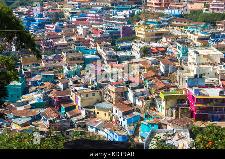 Indian city Ooty, Coonor, Nilgiris ,Tamil Nadu. Colored roof - Stock Photo