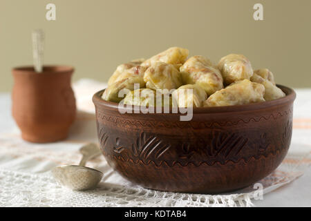 Cabbage rolls with meat, rice and vegetables. Dolma, sarma, sarmale, golubtsy or golabki. Selective focus - Stock Photo