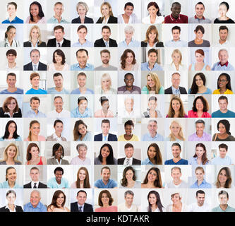 Collage Of Diverse Multi-ethnic And Mixed Age Smiling Casual People Group - Stock Photo
