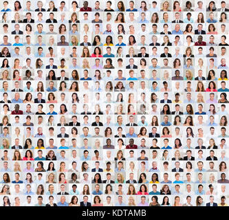 Collage Of Diverse Multi-ethnic And Mixed Age Smiling People - Stock Photo