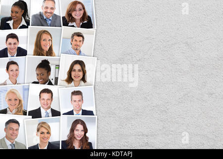 Collage Of Smiling Candidates Photos Selected For Hiring. People Diversity Concept - Stock Photo