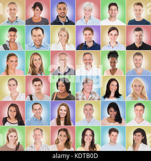 Collage Of Casual Group Of People With Different Ethnicity On Colored Background - Stock Photo
