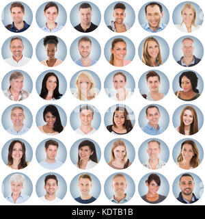 Collage Of Diverse Multi-ethnic And Mixed Age Smiling People Group On Blue Background - Stock Photo