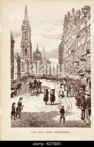 The Old Town, Edinburgh,Plate from Picturesque Scotland, in lay and Legend, Song and Story. Published in 1890,street - Stock Photo