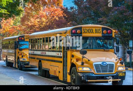 School bus transportation in downtown Atlanta, Georgia. (USA) - Stock Photo
