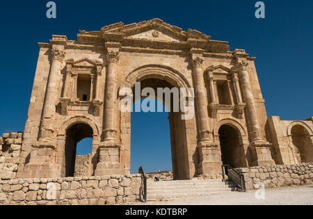 Hadrian's Arch gate, South side of Roman city of Jerash, ancient Gerasa, archaeological site in northern Jordan, - Stock Photo