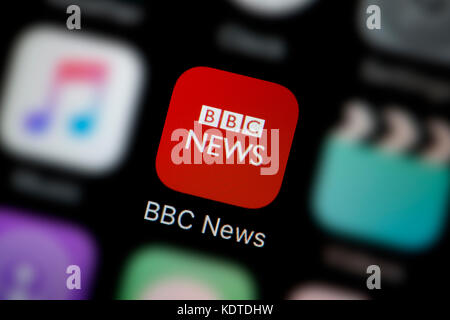 A close-up shot of the logo representing the BBC News app icon, as seen on the screen of a smart phone (Editorial - Stock Photo