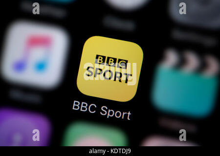 A close-up shot of the logo representing the BBC Sport app icon, as seen on the screen of a smart phone (Editorial - Stock Photo