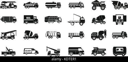 Truck icon set, simple style - Stock Photo